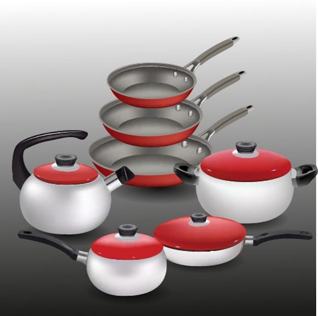 Casseroles et casseroles de jeux de cuisine