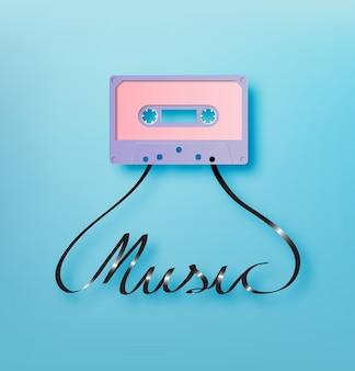 Cassette audio avec illustration vectorielle de musique police papier art style