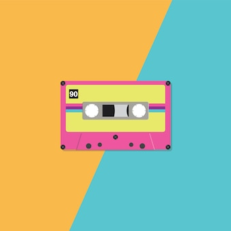 Cassette audio rétro sur fond bicolore