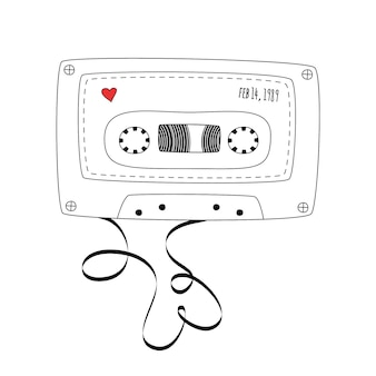Cassette de bande compacte rétro. cassette audio vintage dans un style doodle isolé sur fond blanc. illustration vectorielle en noir et blanc pour bannières web, publicités, autocollants, étiquettes, t-shirt