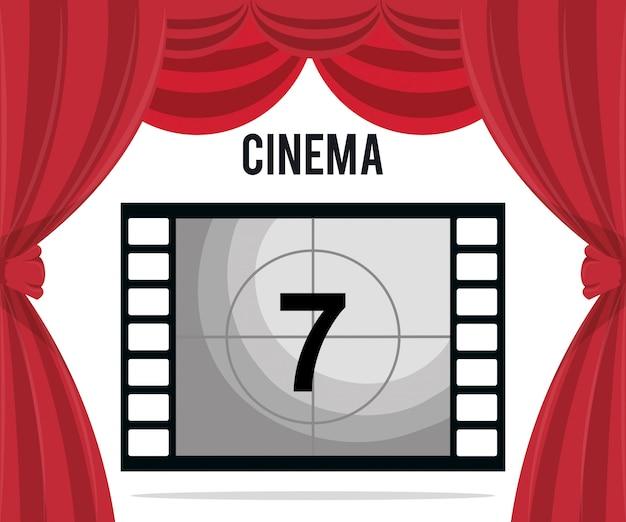 Cassette de cinéma avec icône de divertissement numéro sept
