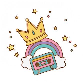 Cassette avec couronne et arc-en-ciel