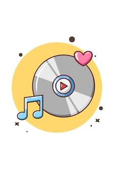 Cassette avec illustration de dessin animé de musique d'amour et d'icône