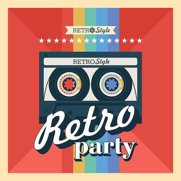 Cassette. illustration vectorielle, logo. fête rétro.