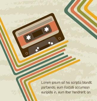 Cassette avec lignes vintage et illustration vectorielle de fond grunge