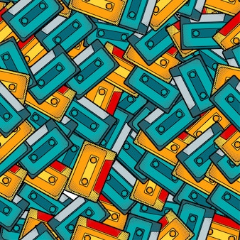 Cassette pop art seamless pattern