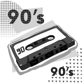 Cassette rétro multicolore