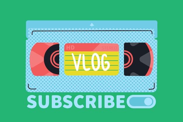Cassette vidéo. couverture pour un blog vidéo. illustration rétro de vecteur de dessin à la main