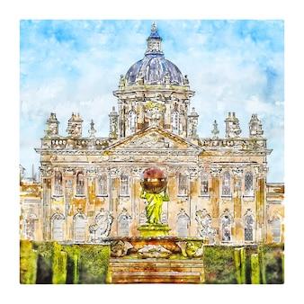 Castle howard aquarelle croquis illustration dessinée à la main