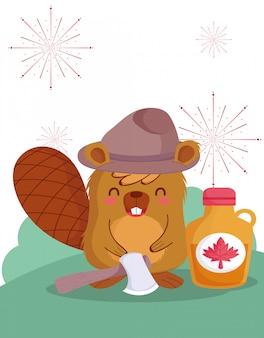 Castor au design de sirop d'érable canadien