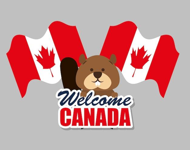 Castor canadien animal scène vecteur illustration design