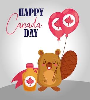 Castor avec conception de ballons canadiens
