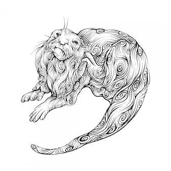 Castor dans le style de dessin à la main bouclée