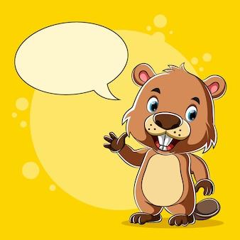 Castor de dessin animé debout et parler avec le discours de bulle vide