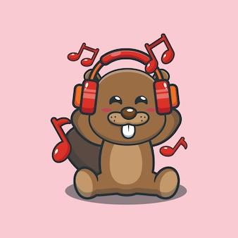 Castor de dessin animé mignon écoutant de la musique avec un casque