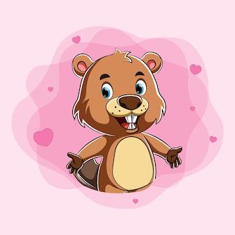 Castor de dessin animé plein d'amour avec le visage heureux et l'amour autour de lui