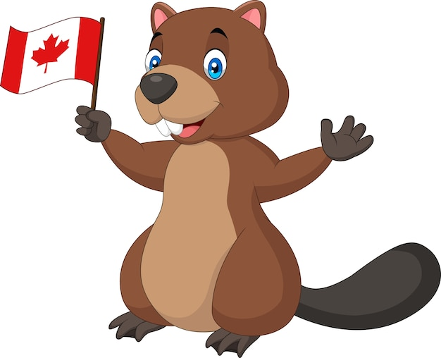 Castor de dessin animé tenant le drapeau canadien