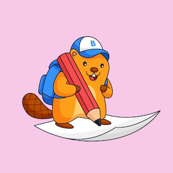 Castor écrire sur papier utiliser gros crayon animal école activité illustration mascot