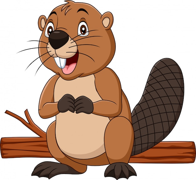 Castor heureux de dessin animé avec du bois