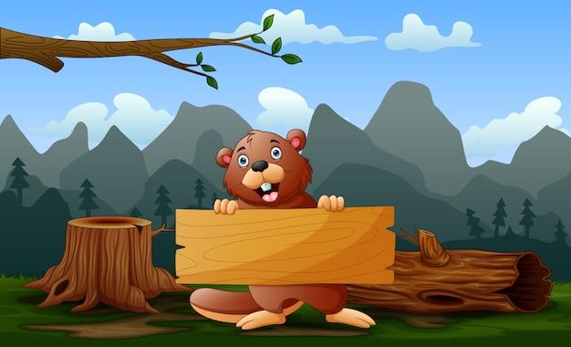 Un castor tenant une pancarte en bois dans le domaine