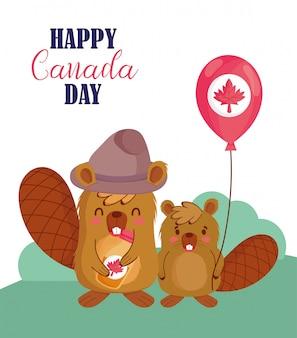Castors au design de ballon canadien