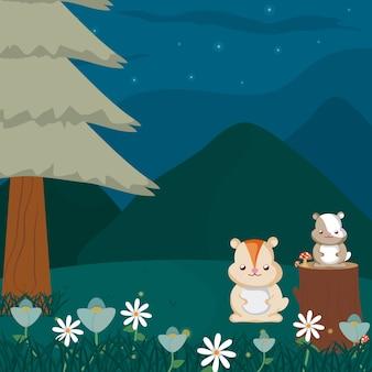 Castors à la forêt des dessins animés animaux mignons