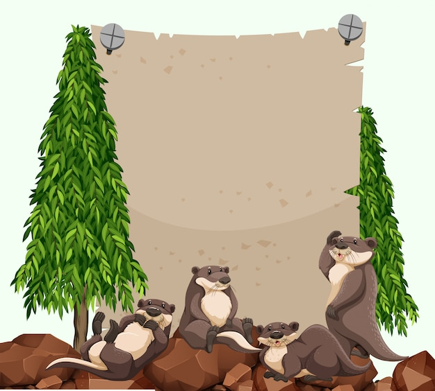 Castors sur le rocher et papier vierge