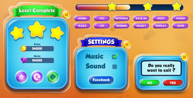 Casual cartoon kids game ui level complete, settings and exit menu pop up with buttons and loading bar