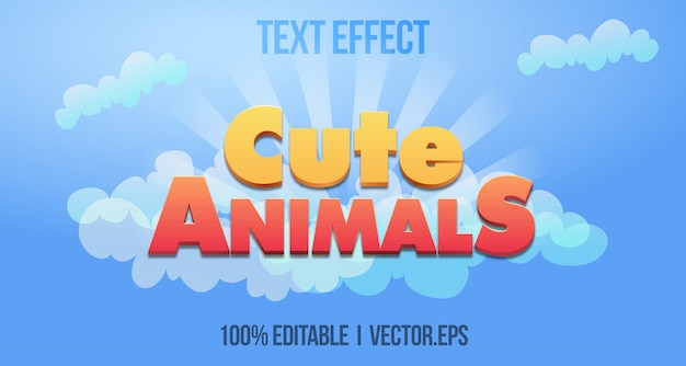 Casual cute animals 3d bold game text effect style graphic layer stayle style de police