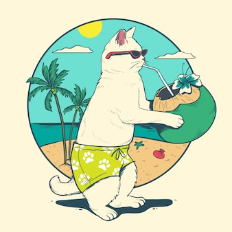 Cat drink coconut