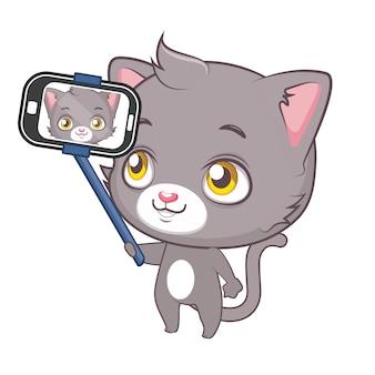 Cat faire un fond de selfie