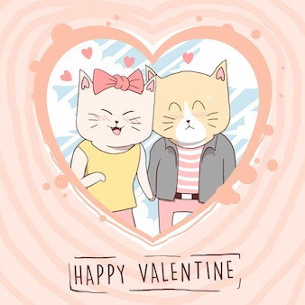 Cat mignon animal amour valentine