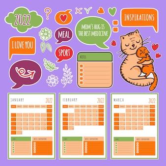 Cat planner winter 2022 calendrier et collection de modèles avec éléments de conception