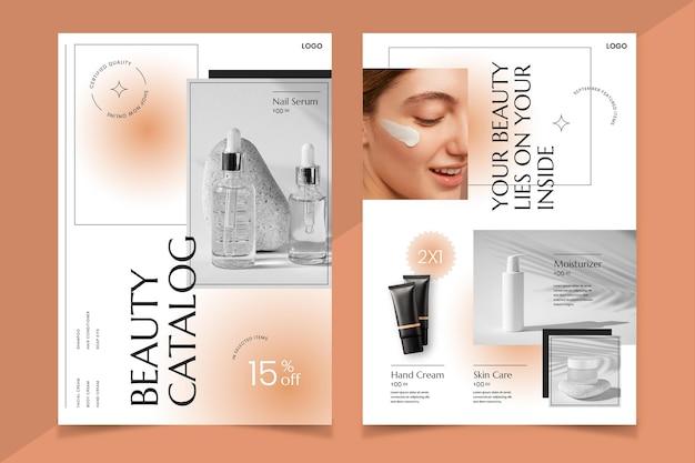 Catalogue de produits de beauté dégradé avec photo