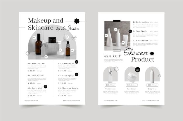 Catalogue de produits de beauté plat
