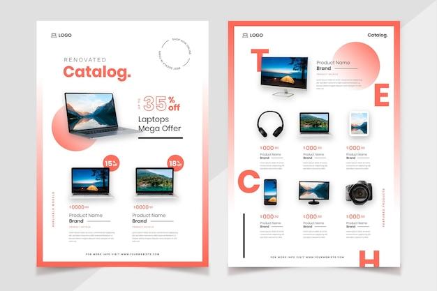 Catalogue de produits de technologie de dégradé avec photo