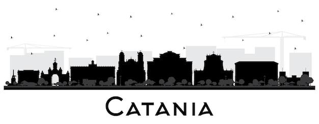 Catane, italie, horizon ville, silhouette, à, noir, bâtiments, isolé, blanc
