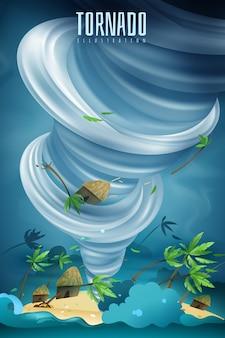 Catastrophes naturelles composition colorée avec puissant tornade rotative twister vortex levage bungalows paumes dans l'air
