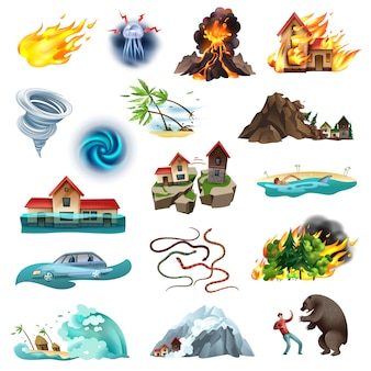 Catastrophes naturelles situation menaçant la vie collection d'icônes colorées avec tornade incendie de forêt inondant des serpents venimeux