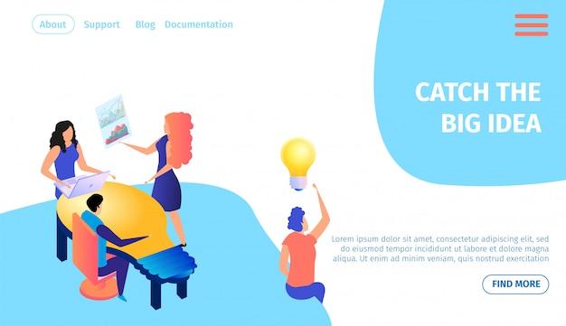 Catch the big idea bannière horizontale. travail en équipe.