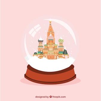 Cathédrale saint-basile-le-bienheureux de moscou intérieur d'un globe de neige