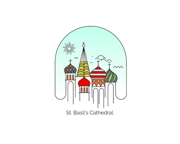 Cathédrale saint-basile, place rouge, moscou, russie. illustration vectorielle de ligne plate art