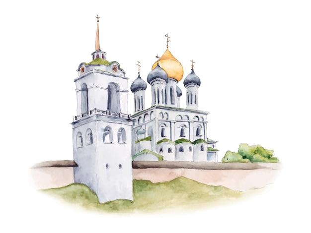Cathédrale de la trinité du kremlin de pskov, église orthodoxe russe, illustration aquarelle