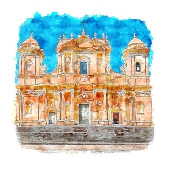 Cattedrale di noto italie croquis aquarelle illustration dessinée à la main