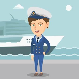 Caucasien capitaine de navire en uniforme dans le port.