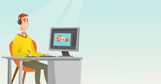 Caucasien designer utilisant une tablette graphique numérique