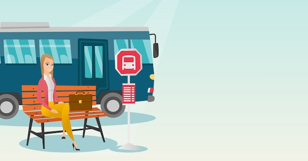 Caucasien, femme, attente, autobus, arrêt, autobus