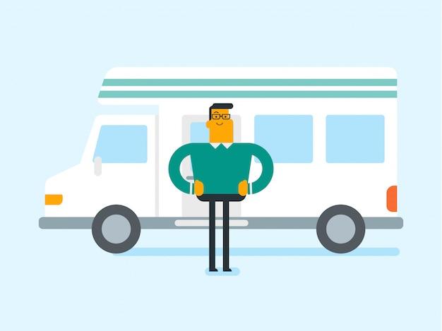 Caucasien, homme, debout, devant, camping-car