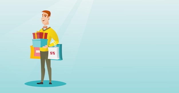 Caucasien, homme, tenue, sacs shopping, et, coffret cadeau