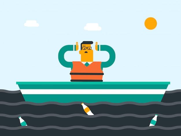 Caucasien scientifique blanc flottant dans la marée noire.